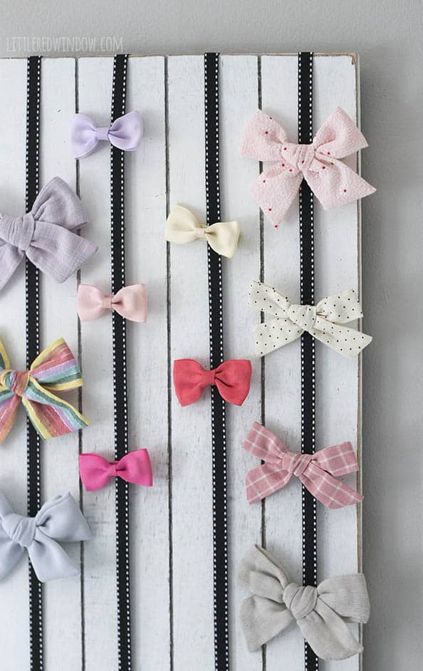 This easy DIY Bow Holder is a great way to show off your cute hair bows and barrettes!
