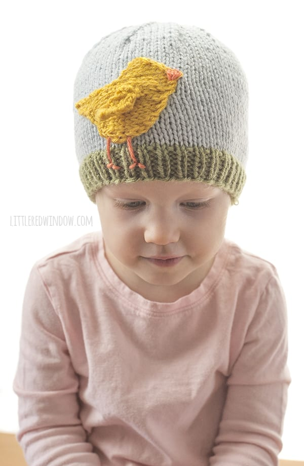 The Easter Chick Hat knitting pattern is the perfect spring baby hat!