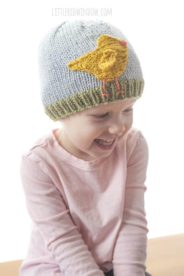 This cute little Easter Chick hat knitting pattern has an adorable flapping wing!