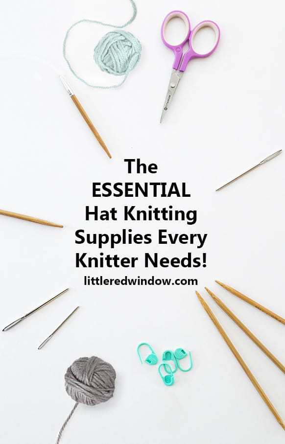 Ready to start knitting hats? Set yourself up for success with this great list of the essential hat knitting supplies and tools that every knitter needs!
