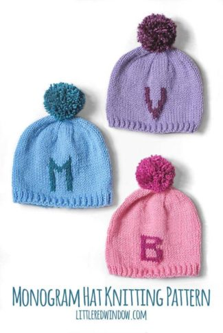 Monogram Hat knitting pattern, this cute pattern for babies and toddlers includes instructions for letters A to Z and numbers 0 to 9!