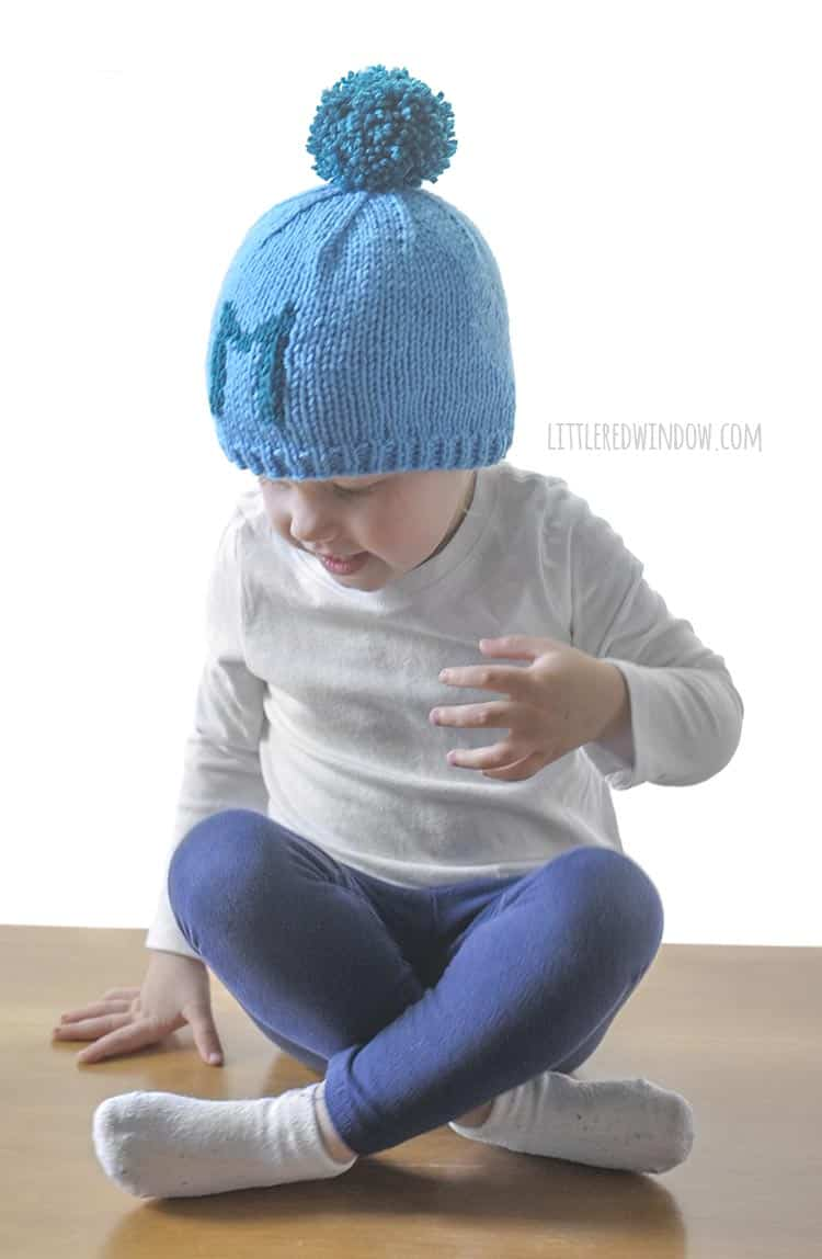Babies look so cute in the Monogram Hat knitting pattern!