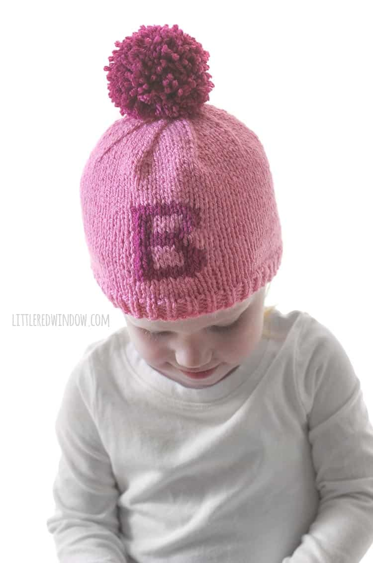 Letter B is the BEST version of the Monogram Hat knitting pattern for babies and toddlers!