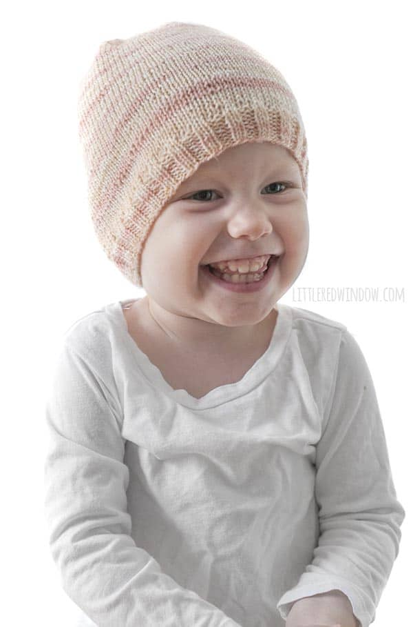 This little one loves the Sock Yarn Hat knitting pattern, it's soft and pretty and lightweight!
