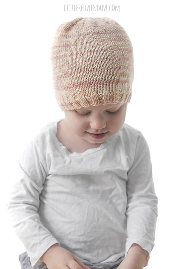 Sometimes simple is best and the Sock Yarn Hat knitting pattern is a great easy baby hat knitting pattern using lightweight yarn!