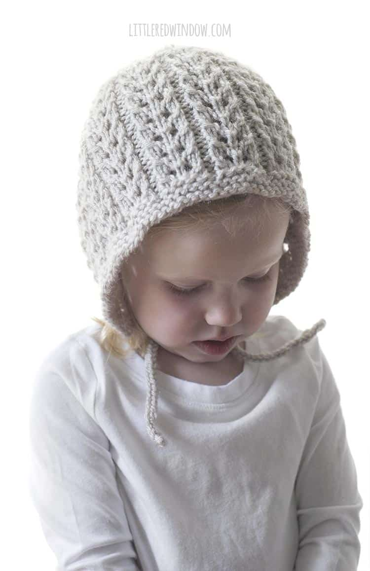 Cute little chin ties keep the Flutter Lace Bonnet in place, start knitting your own today!