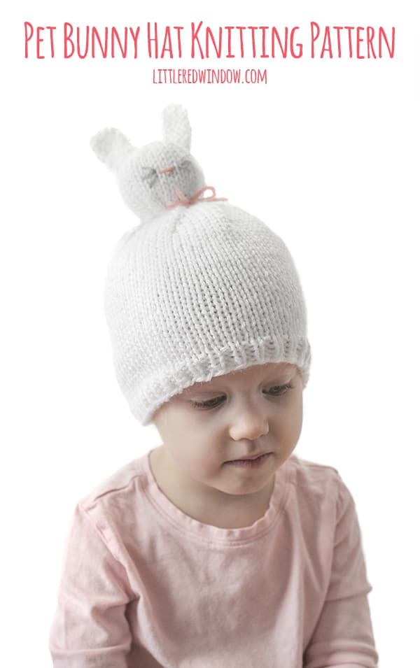 Pet Bunny Pom Pom Hat Knitting Pattern, it's like a wearable stuffed animal for babies & toddlers!