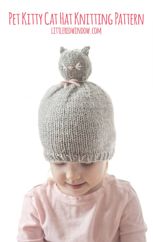 Pet Kitty Cat Pom Pom Hat Knitting Pattern, it's like a wearable stuffed animal for babies & toddlers!