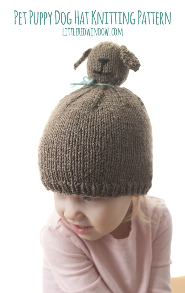 Pet Puppy Dog Pom Pom Hat Knitting Pattern, it's like a wearable stuffed animal for babies & toddlers!