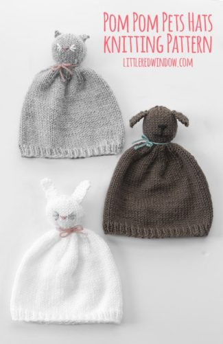 The Pom Pom Pet Hats knitting pattern is such a fun knit for babies and toddlers, they're like adorable wearable stuffed animals!