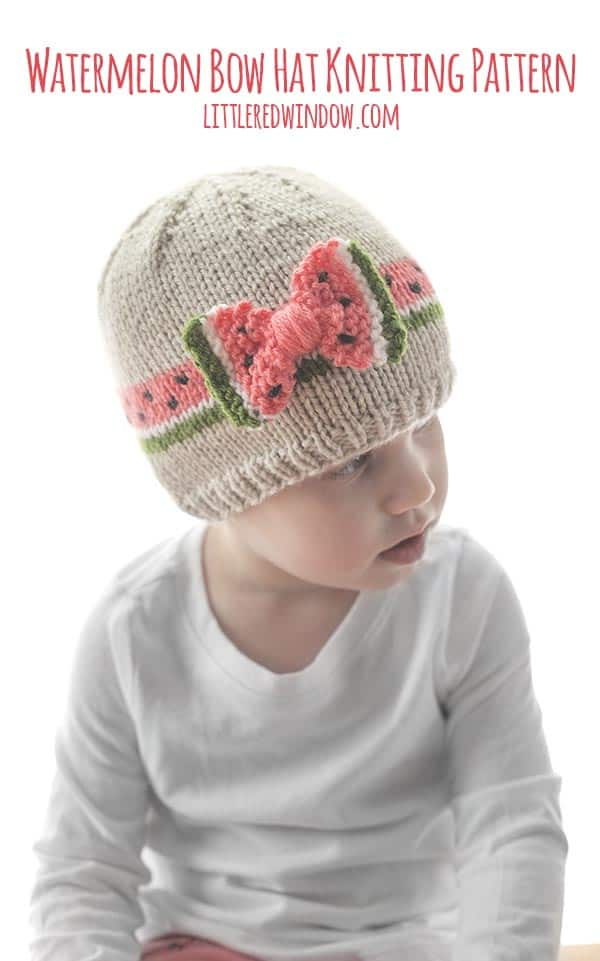 The Watermelon Bow Hat knitting pattern is the perfect easy baby hat pattern for summer babies & toddlers!