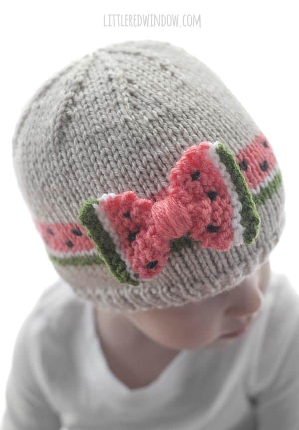 The best part of the Watermelon Bow Hat knitting pattern is that the two sides of the bow look like nice juicy slices of watermelon!