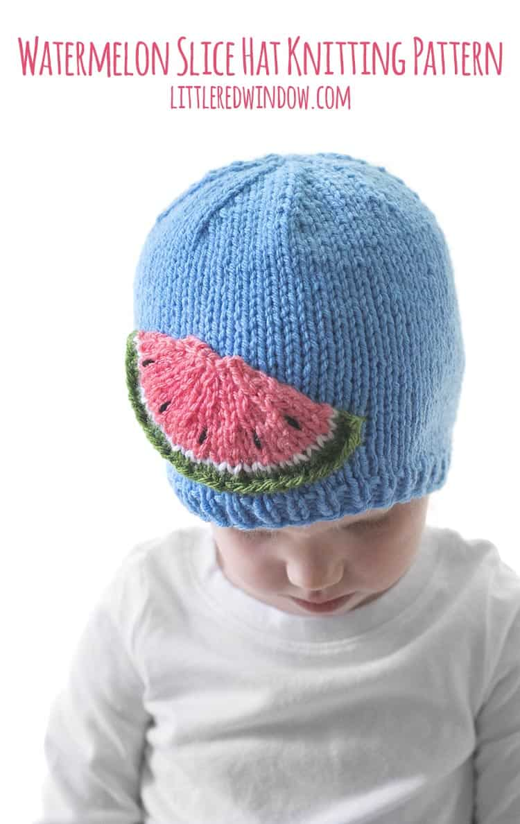 Adorable summery Watermelon Slice Hat knitting pattern for babies & toddlers!