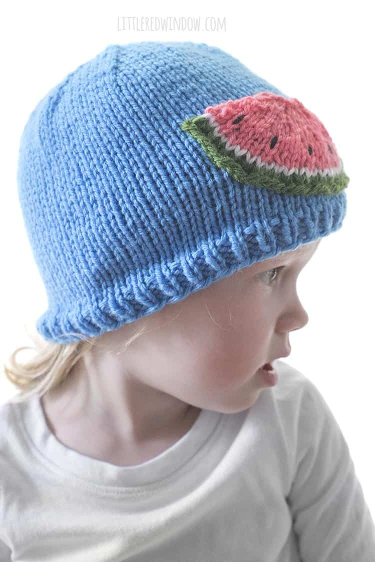 Looking for an easy summer knitting pattern? The Watermelon Slice Hat is a favorite of this little one!