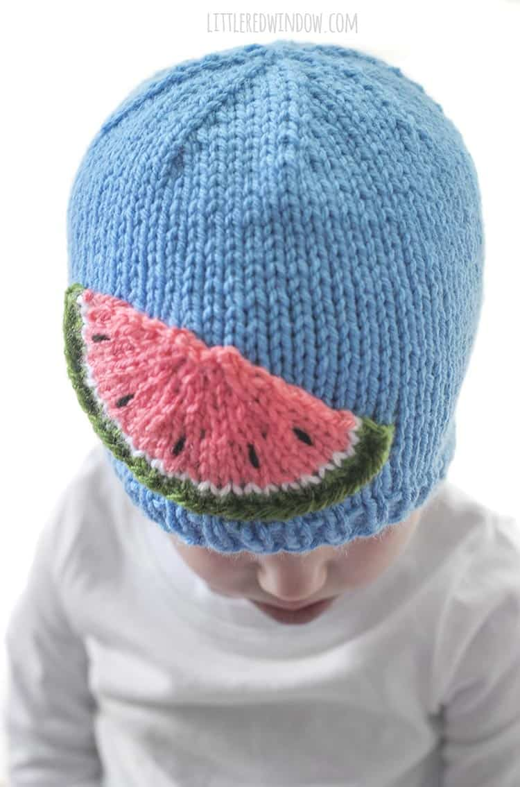 The Watermelon Slice Hat knitting pattern is so fun to knit!