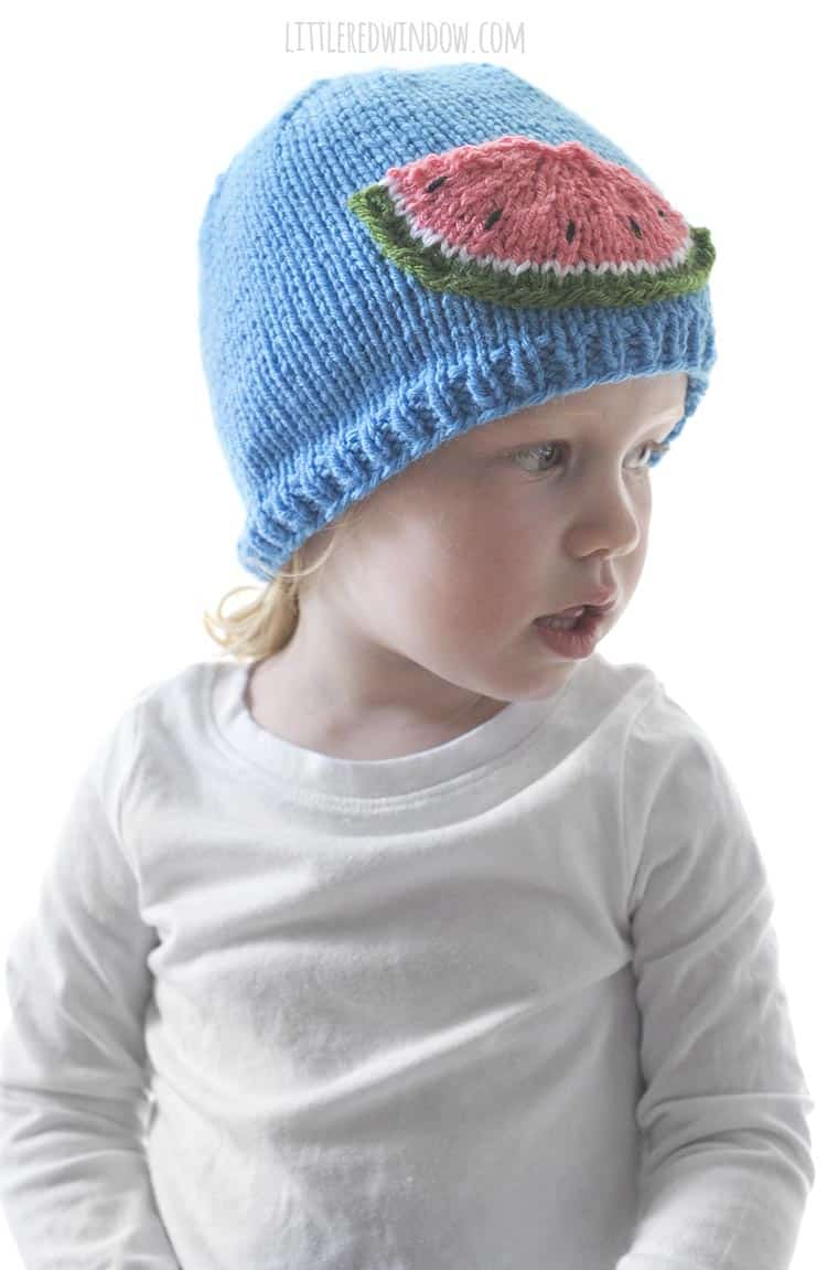 The Watermelon Slice Hat knitting pattern is perfect for summer babies!