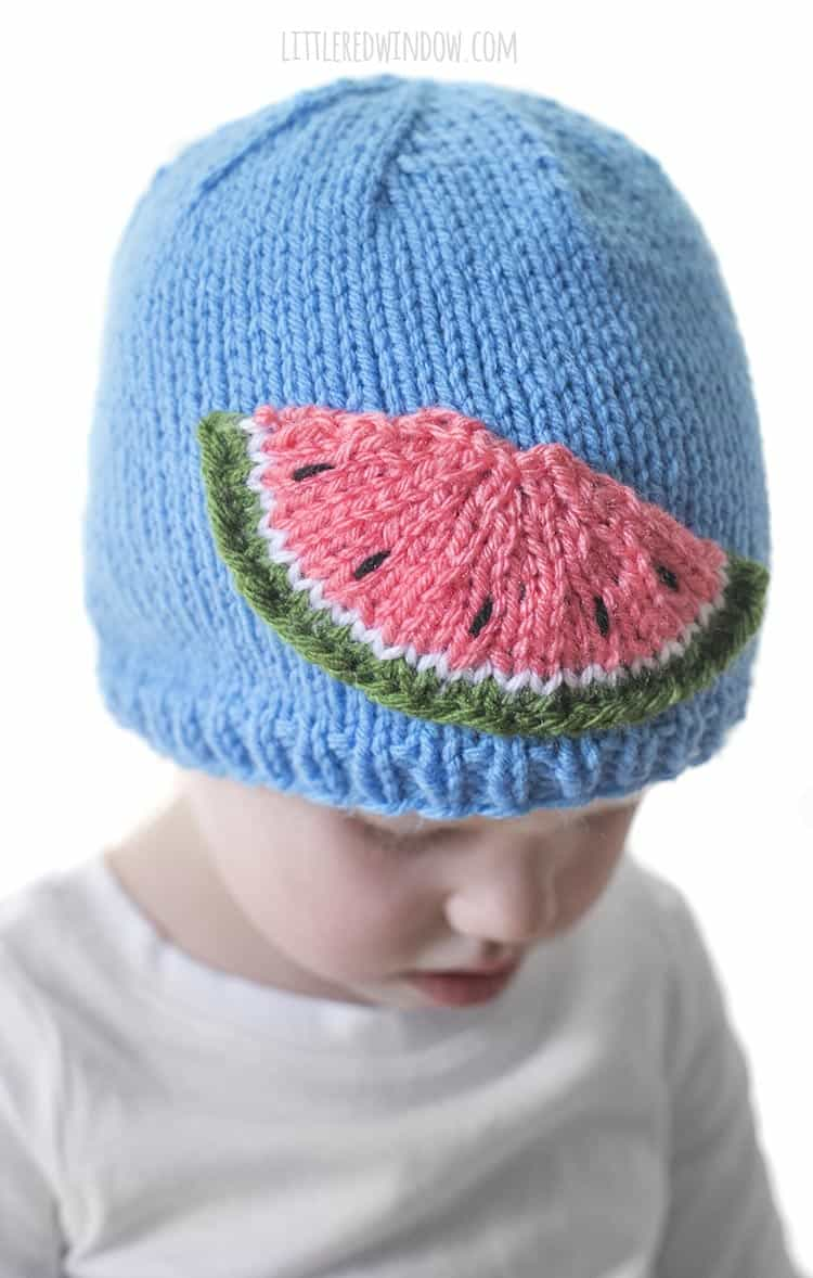 It doesn't get much cuter than these sweet little watermelon seeds in the Watermelon Slice Hat knitting pattern!