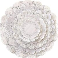 Round paper Lace Table Doilies – 4-12 inch Assorted Sizes; White Decorative Tableware papers Placemats, Beautiful Assortment (Variety pack of 120 – 20 of each)