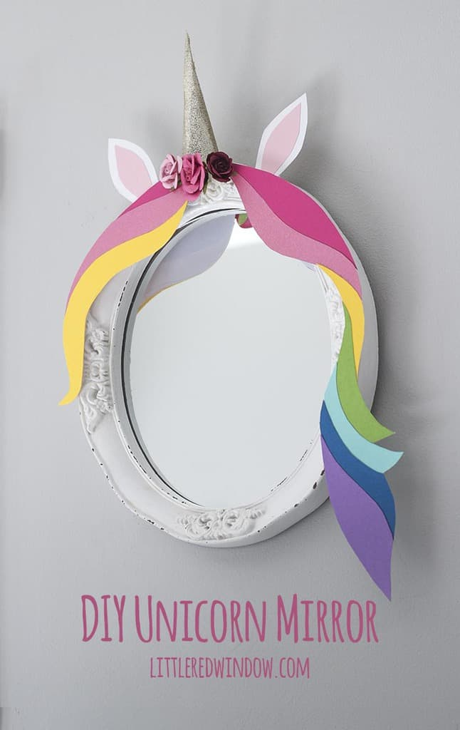 Adorable DIY Unicorn Mirror, perfect colorful project to make for your little unicorn-lover's room!
