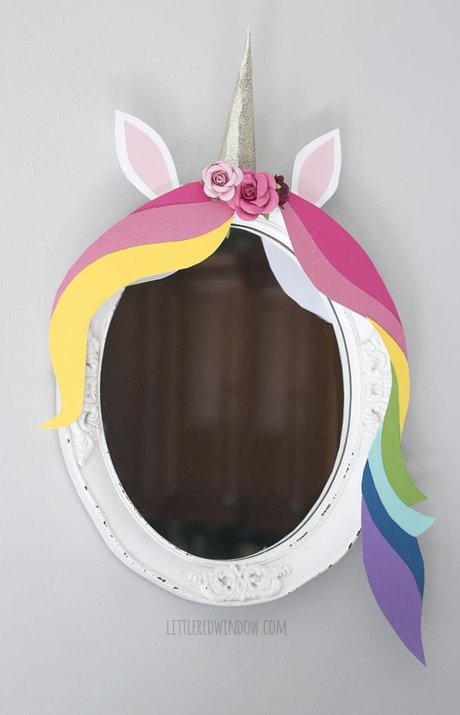 Closeup of an adorable DIY unicorn mirror