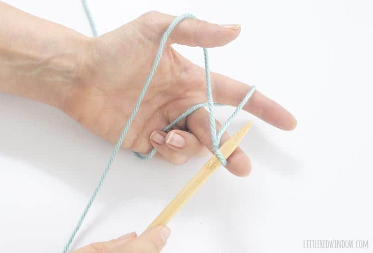 Learn the correct way to hold the yarn with your left hand for a long tail cast on