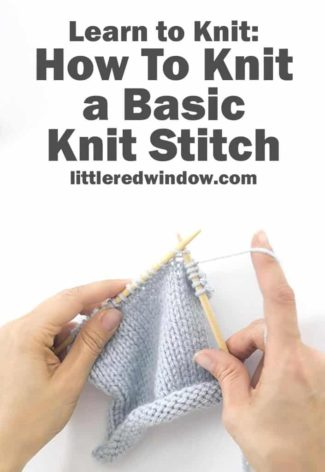 Learn how to knit a basic knit stitch!