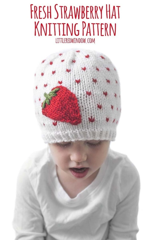 The Fresh Strawberry Hat knitting pattern is the perfect fun spring and summer baby hat knitting pattern!