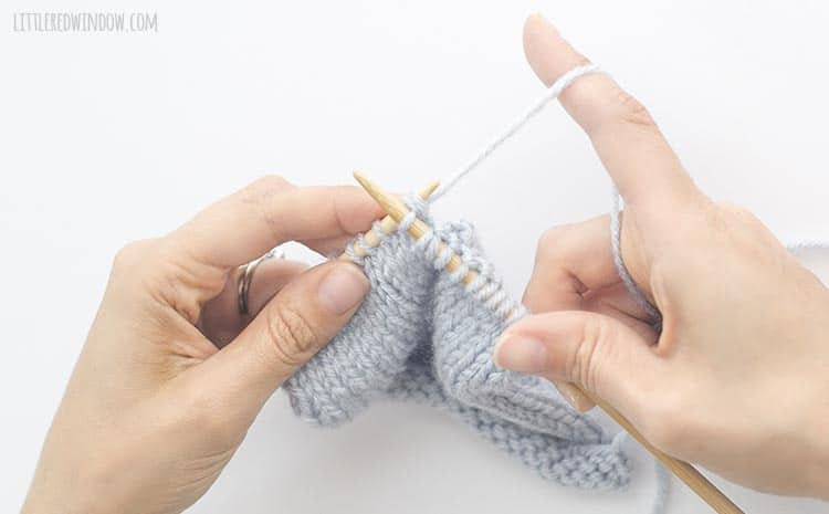 To continue your sk2p, knit two stitches together