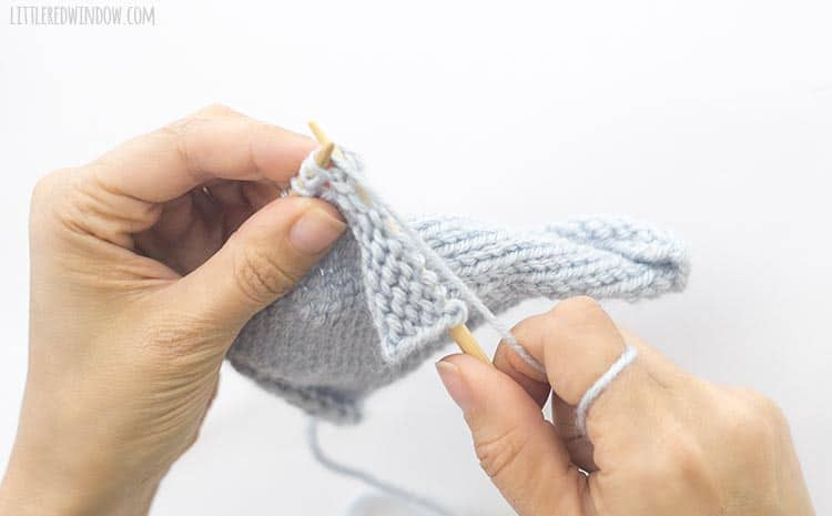 To ssp, wrap the yarn around the tip of the right knitting needle