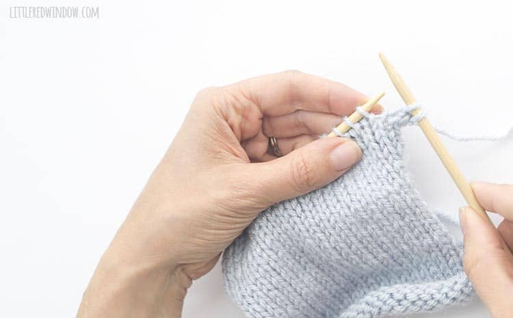 To bind off knit stitches, knit 2 stitches