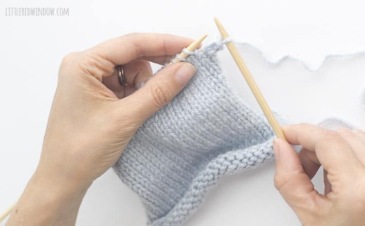 To bind off knit stitches, use the tip of the left needle to lift the first stitch up and over the second stitch and off the right needle