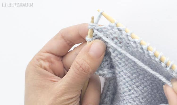 To p2tog, pull the yarn through the two stitches