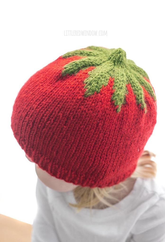 view showing the top of a red knit tomato hat with green leaves on top