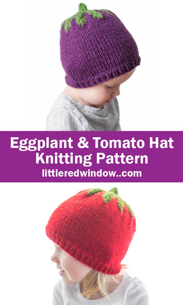 Eggplant and Tomato Hat Knitting Pattern for babies and toddlers!