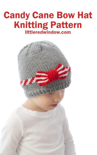 This festive candy cane bow hat knitting pattern is the perfect holiday knit for your baby or toddler!