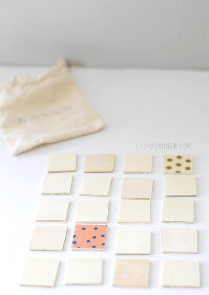 Find two matching tiles in this tiny and adorably DIY travel matching game!
