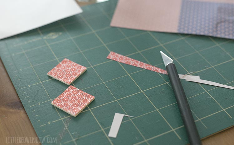 Use decoupage glue to decorate your DIY travel matching game tiles with fun colorful scrapbook paper