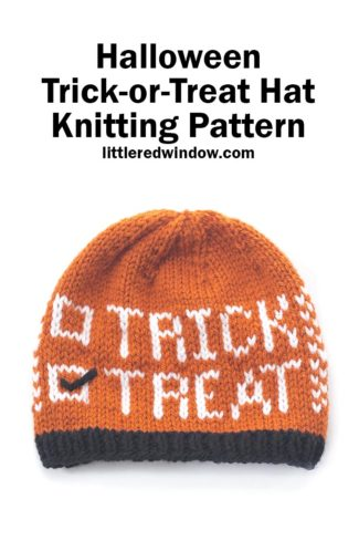 The Trick or Treat Hat knitting pattern is the perfect hat to knit for your bay or toddler this Halloween!