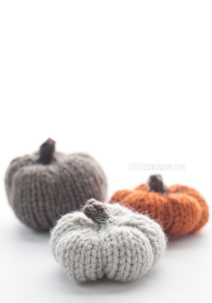 Neutral colored adorable knit pumpkins!