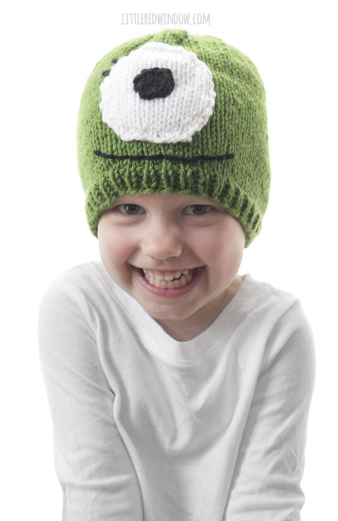 Montster Hat knitting pattern, a fun knit for Halloween or anytime for your monster loving baby or toddler!
