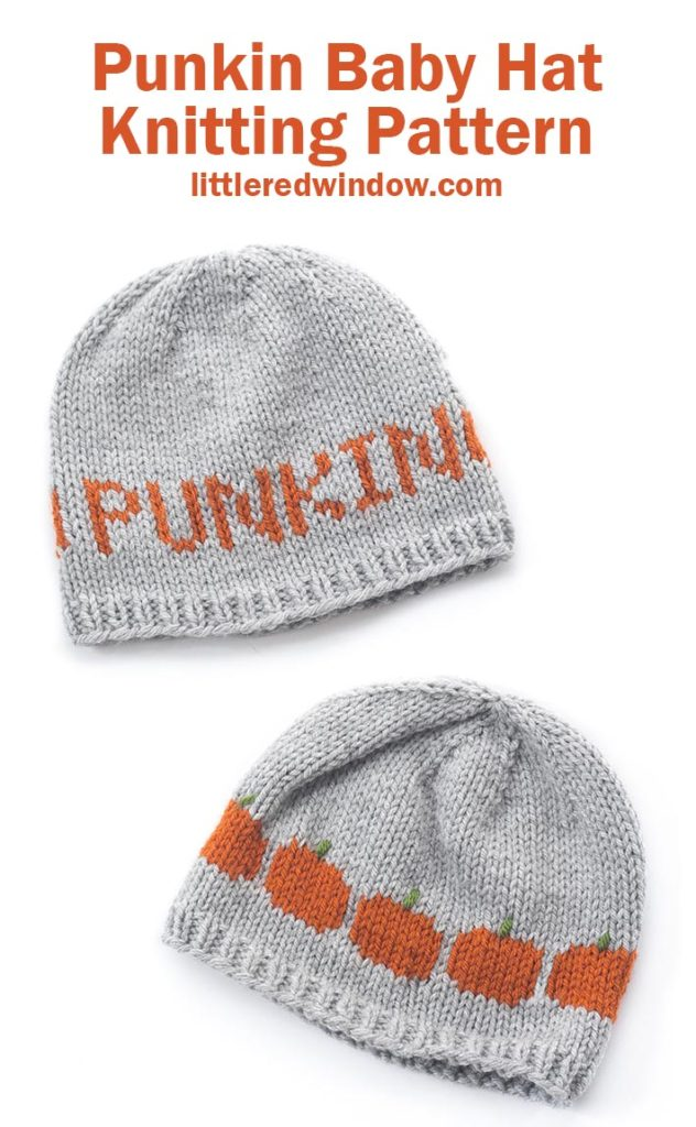 This cute Halloween Punkin Hat knitting pattern is a fun fair isle pattern with a row of cute pumpkins on the back!
