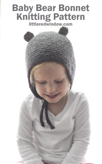 Baby Bear Bonnet Knitting Pattern