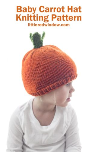 Knit up a baby carrot hat for your baby or toddler with this easy knitting pattern!