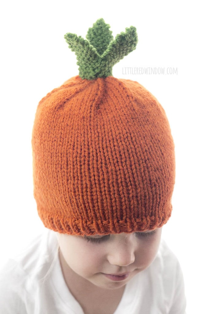closeup of little girl in orange carrot hat with green carrot leaves on top