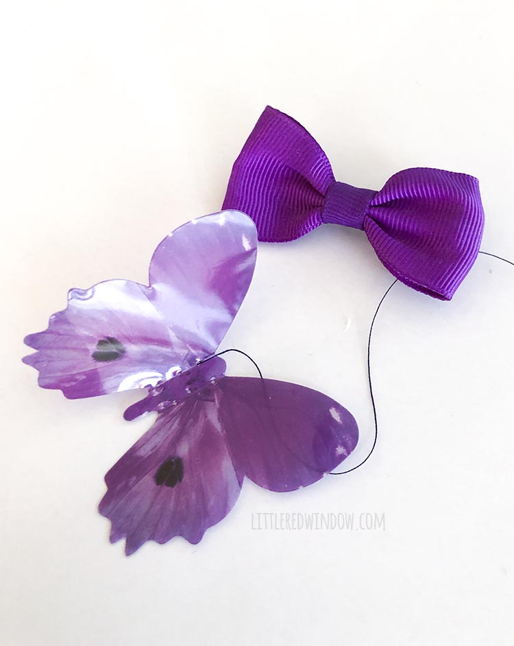 It's easy to make a butterfly hair bow, just sew a cute plastic butterfly to a hair clip!