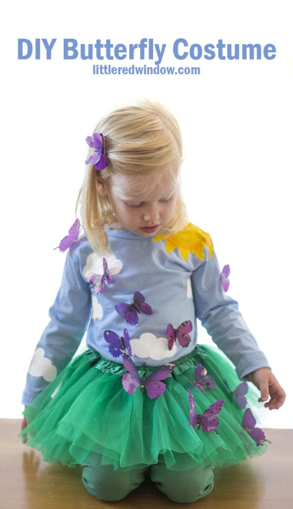 This adorable DIY Butterfly Costume is sure to be a hit this Halloween! You can make your own butterfly garden costume with just a few supplies at home!