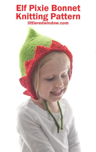 Adorable Elf Pixie Bonnet knitting pattern, perfect for your baby or toddler Christmas helper this year!