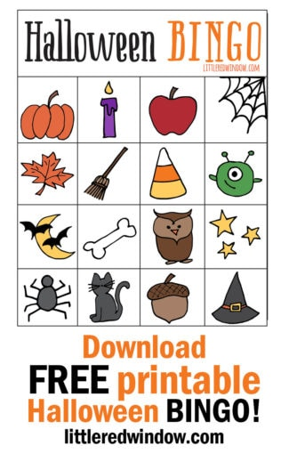 Download a FREE printable Halloween BINGO game set! This cute game is perfect for fall classroom parties!