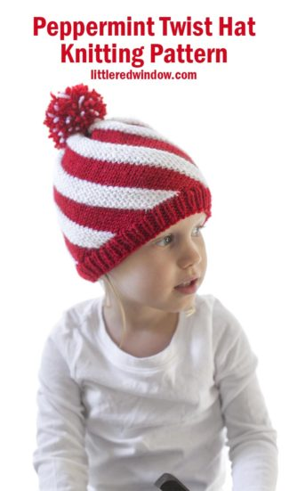 Easy & fun to knit Peppermint Twist Hat knitting pattern is the perfect holiday knit for your little sweetie!