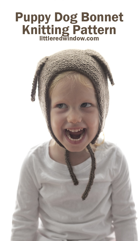 Knit this adorable Puppy Dog Bonnet knitting pattern for your baby or toddler this year!